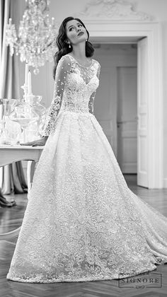 Maison Signore Excellence bridal collection. Aurora long sleeves wedding gown. Trunk show details on the post page on Wedding Inspirasi. #bridal #wedding #weddingdress #MaisonSignore #weddinggown #romantic #ballgown
