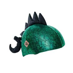 This dinosaur has serious attitude so be sure to get out of his way when he s roaring down the hill or speeding by on his bike! This helmet cover has metallic emerald green and black reptile print lycra with a black spine and curly tail One size fits all Washing instructions hand wash and lay flat to dry