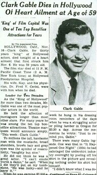 Article reporting the death of Clark Gable.