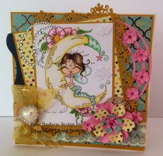 Card using My Besties with handmade flowers,ribbon,lace bling image, by Sherri Baldy