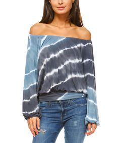 This Blue & Charcoal Tie-Dye Off-Shoulder Top is perfect! #zulilyfinds ღღ✿⊱╮@TonjaAmenra