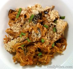 One of my favorites! This Spicy Sausage and Eggplant Spaghetti Bake is super cheesy and delicious for only 345 calories or 9 Weight Watchers points per serving. www.emilybites.com #healthy
