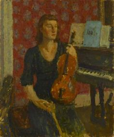 """Girl with Violin"" (1940) | Edward Le Bas"