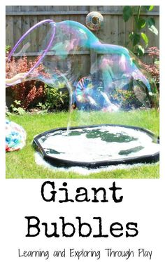 Learning and Exploring Through Play: Giant Bubbles Recipe. Outdoor fun activities for kids.