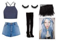 A fashion look from September 2015 featuring high-neck tops, jean shorts and thigh high boots. Browse and shop related looks. Warehouse, Alexander Mcqueen, Topshop, Shoe Bag, Denim, Sexy, Polyvore, Stuff To Buy, Shopping