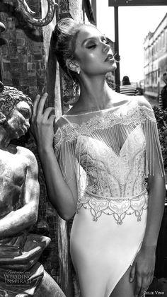 julie vino spring 2018 bridal fringed half sleeves illusion bateau sweetheart neckline heavily embellished bodice front slit elegant sexy sheath wedding dress fringed back chapel train (14) zv -- Julie Vino Spring 2018 Wedding Dresses