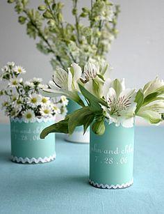 Tin can Vases - turquoise & white theme  #iinviteall