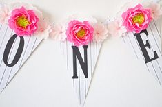 ONE Banner  Paper Flowers and  Birthday Banner  First