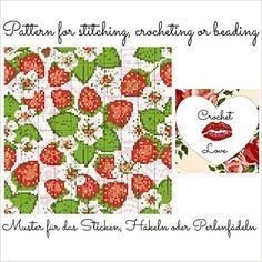 Strawberry Garden: Pattern for stitching, crocheting or beading - Muster für das Sticken, Häkeln oder Perlenfädeln