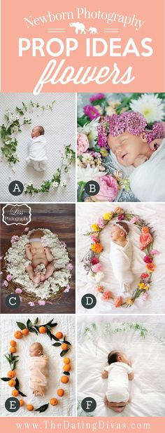 Adorable Newborn Photography Prop Ideas using Flowers. Flowers – Highlight your sweet baby by placing beautiful flowers around them! Spring and summer are the perfect season for adding colorful flowers to your newborn photos. Baby Poses, Newborn Poses, Newborn Shoot, Newborn Photography Props, Children Photography, Photography Poses, Photography Flowers, Infant Photography, Newborn Photo Props