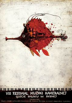 VIII Festiwal Muzyki Kameralnej - festival poster Oryginalny polski plakat autor plakatu: Ryszard Kaja  data druku: 2011 wymiary plakatu: B1 ok. 68x98cm