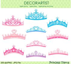 Princess Clip Art., Princess Tiara , Blue, Pink , Purple , Instant Download