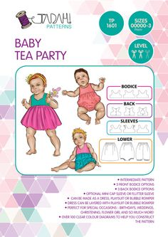 PATTERN Baby Tea Party  PDF Sewing Pattern  by TadahPatterns