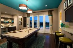 Gorgeous drum pendants are a perfect fit for the space above the pool table Indulge Your Playful Spirit with These Game Room Ideas