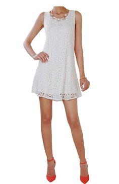 Cream Lace Sleeveless Dress - Jenny Lace Dress
