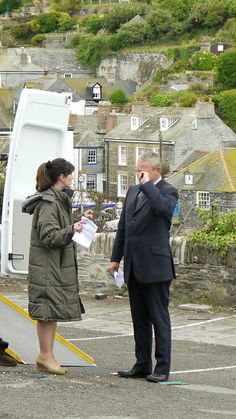 Martin Clunes & Caroline Catz between takes on the set of Doc Martin.