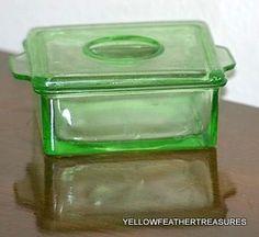RARE ANCHOR HOCKING DEPRESSION GLASS COVERED GREEN REFRIGERATOR DISH