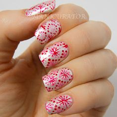 "manicurator: Valentine's Day ""wrapping paper"" Nail Art - Digit-al Dozen Love and Heartbreak Week"