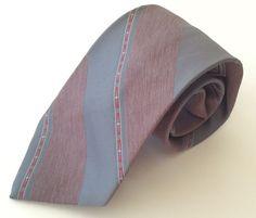 Envoy Neck Tie Gray Burgundy Red White Striped Polyester Silk #Envoy #NeckTie