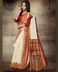 White & Red Color Bhagalpuri Casual Wear Sarees : Vedanki Collection  YF-40139