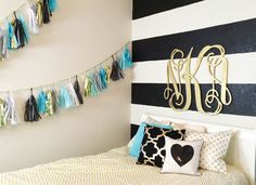 Black and Gold Girls Room with Pops of Aqua - such a fun space!