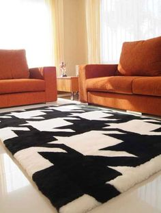 Modern Rugs   HipRugs - Contemporary Area Rugs, Tibetan Rugs, Designer Rugs Hip Rugs Boca Black and White Rug - Sheepskin Collection - Shag Rugs