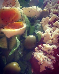 #eggs #ricotta #tomatoes #greensalad #cucumber #olive Ricotta, Tomatoes, Potato Salad, Cucumber, Salads, Eggs, Fresh, Vegetables, Breakfast