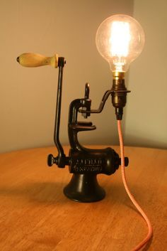 Upcycled Vintage Lamp, Industrial light, Industrial lamp, Steampunk lamp, desk lamp with Edison bulb