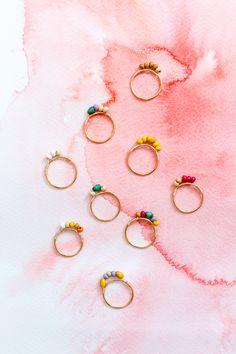 DIY: mini beaded rings