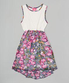 Loving this White & Fuchsia Floral Dress - Toddler & Girls on #zulily! #zulilyfinds