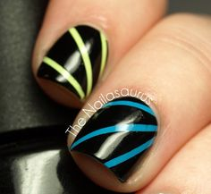 """""""Laser"""" Nail Art Tutorial- Need 1 or 2 bright or neon polish, striping tape, black polish and a clear top coat"""