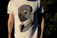 Ash grey Alfred Hitchcock custum t shirt for men with portrait print.  I make original portraits of famous writers and persons. I try to show their