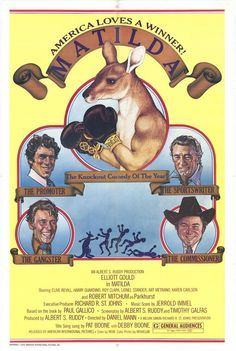 MATILDA (1978) - Elliott Gould - Robert Mitchum - Clive Revill - Harry Guardino - Roy Clark - Lionel Stander - Art Metrano - Karen Carlson - Produced by Albert S. Ruddy - Directed by Daniel Mann - American-International Pictures - Movie Poster.