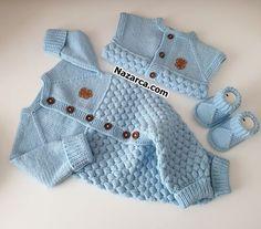 ÖRGÜ BONBON TULUM, YELEK VE PATİK BEBEK TAKIMI | Nazarca.com Baby Knitting Patterns, Knitting Blogs, Arm Knitting, Baby Set, Knit Fashion, Boho Fashion, Learn How To Knit, Moda Emo, Fair Isle Knitting