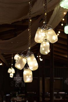 How to Make Hanging Mason Jar Lights, DIY decor and wedding craft ideas.