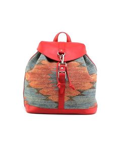 Small Backpack Kilim2 by Rudimentary on Guruwan.com | Small Backpack Kilim2Material : 100% linen with 100% leather-redLining 100% linen.
