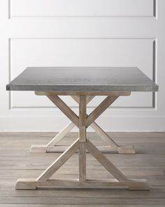 """Fowler"" Dining Table by Bernhardt at Horchow - hand-hammered stainless steel top and base made of mindi solids and European beechwood Dimensions: 80W X 40""D X 30""H"