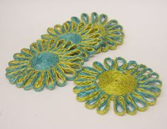 Vintage Atomic Age Teal and Green Floral Coasters by hipandvintage, $7.25