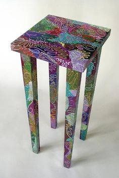 Lovely hand-painted... mini-table? Kitchen stool?