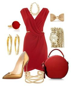 """""""Vermelho"""" by ebramos ❤ liked on Polyvore featuring Untold, Dolce&Gabbana, Christian Louboutin, Anne Klein, Stella & Dot, Brooks Brothers, GUESS and Adia Kibur"""