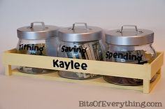 Dave Ramsey Money Jars for Kids -- 50% spend, 10% give/tithe, 40% save @Kelly DeLoach