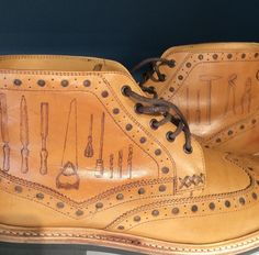 Tools of the trade. Tattoos on brogue boots
