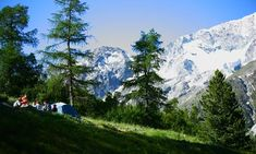Mountain camping in the Swiss Alps