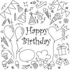 Happy Birthday Icons, Happy Birthday Doodles, Happy Birthday Drawings, Happy Doodles, Birthday Card Drawing, Cute Happy Birthday, Birthday Clipart, Birthday Cards, Birthday Quotes