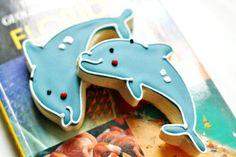 Happy Dolphin Decorated Sugar Cookies Sugar Cookies - Beach Edibles via Etsy
