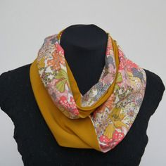 Snood écharpe tube fin liberty mauvey / jaune moutarde taille s