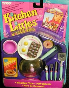 Barbie Tyco Kitchen Littles Breakfast Time (1995) by Tyco. $78.80. Rare and Hard to find Barbie Tyco Kitchen Little Breakfast Set New in package with eggs, bacon, grapfruit and Cereal Box. Also includes frying pan, plate,bowl and other utensils.