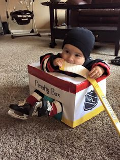 "Sometimes, hockey-obsessed husbands have the wildest baby name ideas. Nearly every year, at least one hockey dad-to-be proposes the name ""Gretzky"". Baby Halloween Costumes, Baby Costumes, Halloween Kids, Family Costumes, Halloween Makeup, Baby Boys, Baby Kostüm, Baby Boy Hockey, Kids Boys"