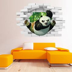 Gurteen Childrens DIY Removable Mural PVC Home Wall Art Decal Sticker 3D Kung Fu Panda Novelty Ceiling Decor ** Check this awesome product by going to the link at the image.