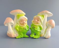 Miller Studio Gnome and Mushroom Chalkware / Plaster Wall Plaques | Set of Two 2 | Made in USA 1979 | Vintage Home Decor by TheLogChateau on Etsy